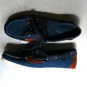 Sperry denim and leather top sliders